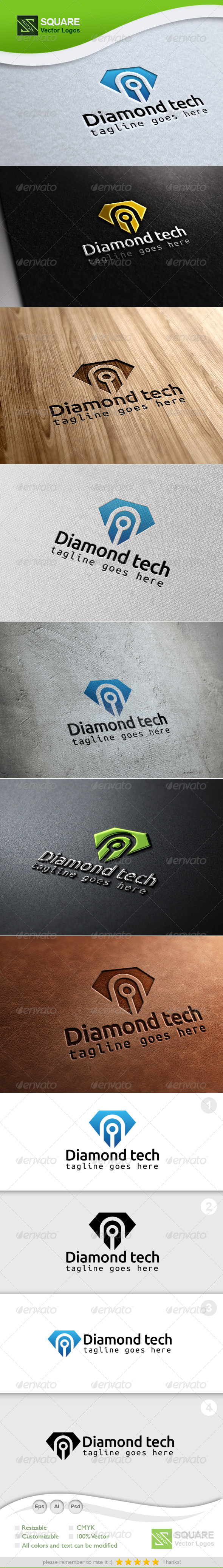 Diamond, Tech Vector Logo Template - Symbols Logo Templates