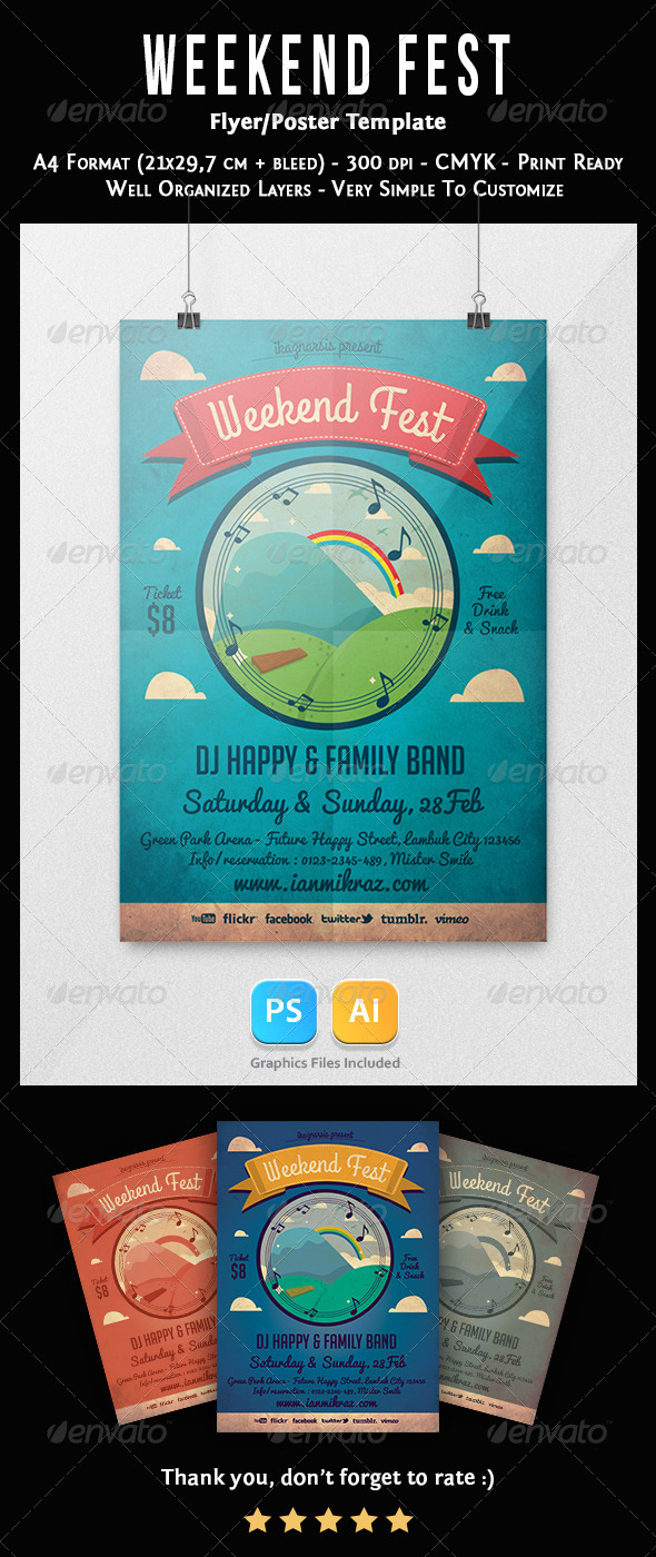 GraphicRiver Weekend Fest Flyer Template 6942005