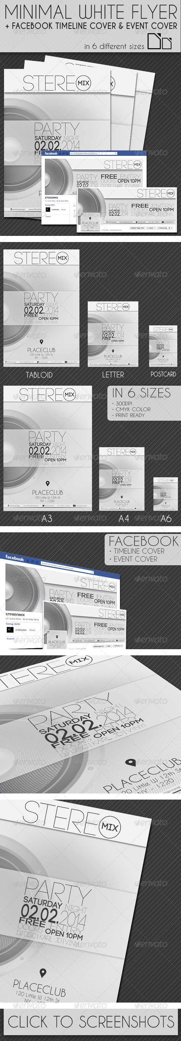 GraphicRiver Minimal White Flyer in 6 Size & Facebook Covers 6928904