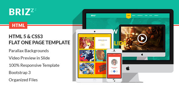 ThemeForest BRIZZZ Flat One Page HTML Template 6928901