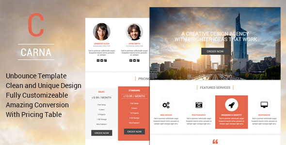 Carna - Premium Unbounce Landing Page Template