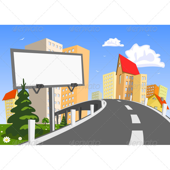 GraphicRiver Vector City with Billboard 6942540