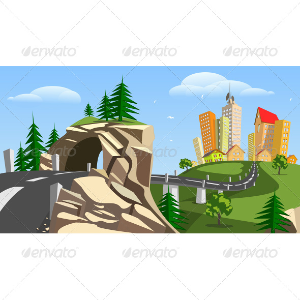 GraphicRiver Vector City Surrounded by Nature Landscape 6942589