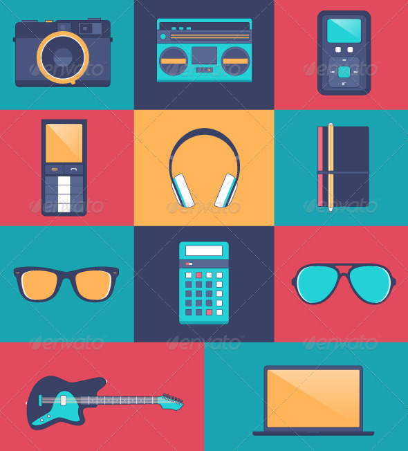 GraphicRiver Hipster Accessory Kit Flat Icons 6940407