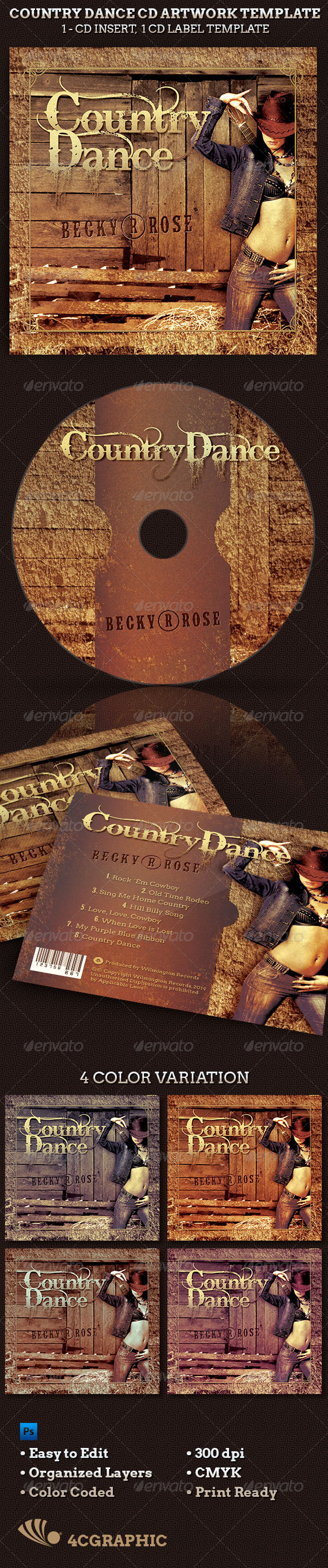 Country Dance Music CD Artwork Template  - CD & DVD artwork Print Templates
