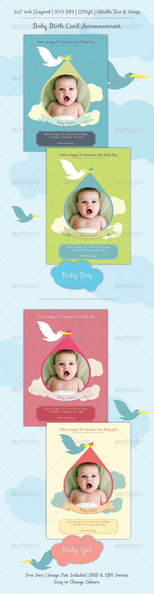 GraphicRiver Baby Birth Announcement Card 6899658
