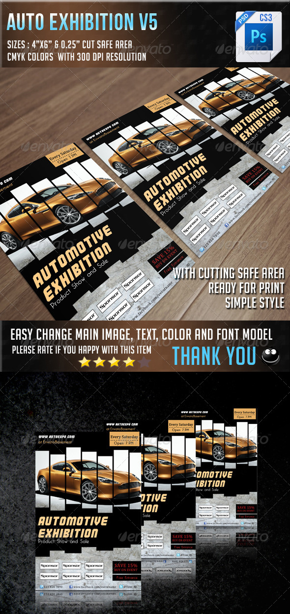 GraphicRiver Auto Exhibition Flyer V4 6943426