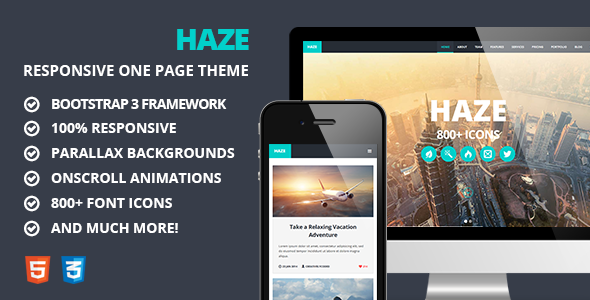 ThemeForest Haze One Page Responsive Parallax Theme 6929703