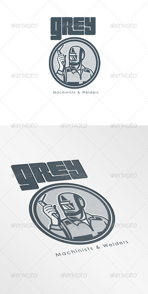 GraphicRiver Grey Machinist and Welder Logo 6944255