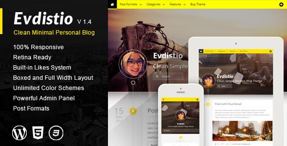 Evdistio - Responsive Clean Minimalist Blog Theme - Personal Blog / Magazine