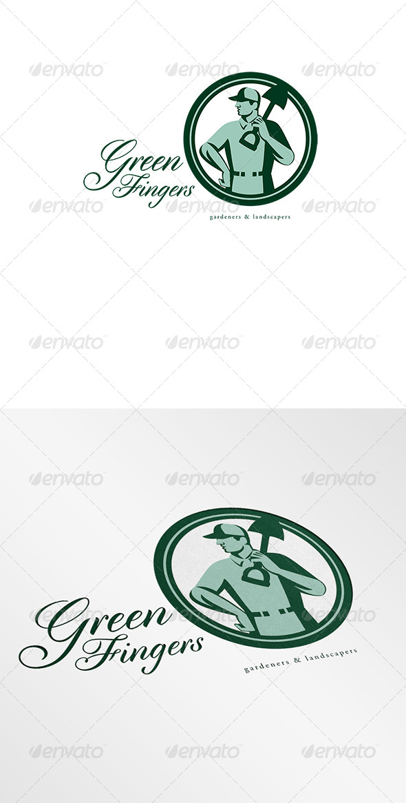 Green Fingers Gardener Landscaper Logo