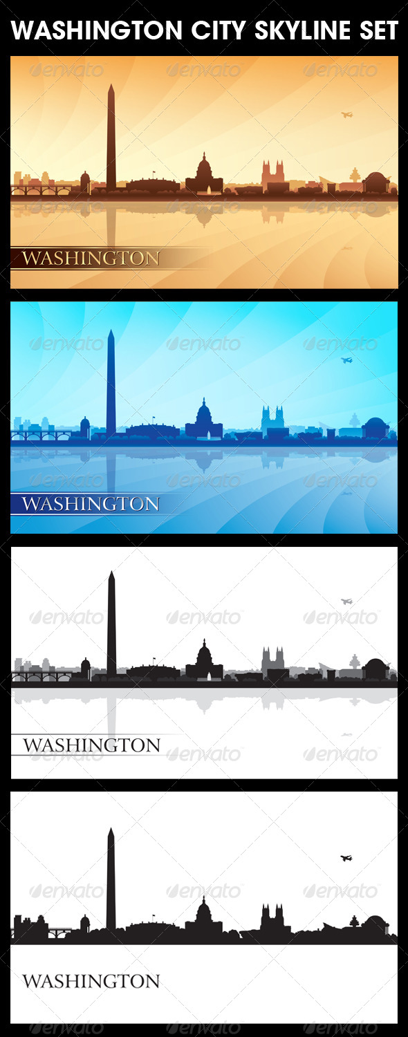 GraphicRiver Washington City Skyline Silhouettes Set 6944282