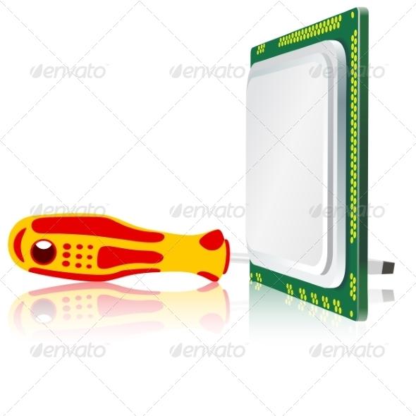 GraphicRiver Screwdriver and Computer Processor 6944693