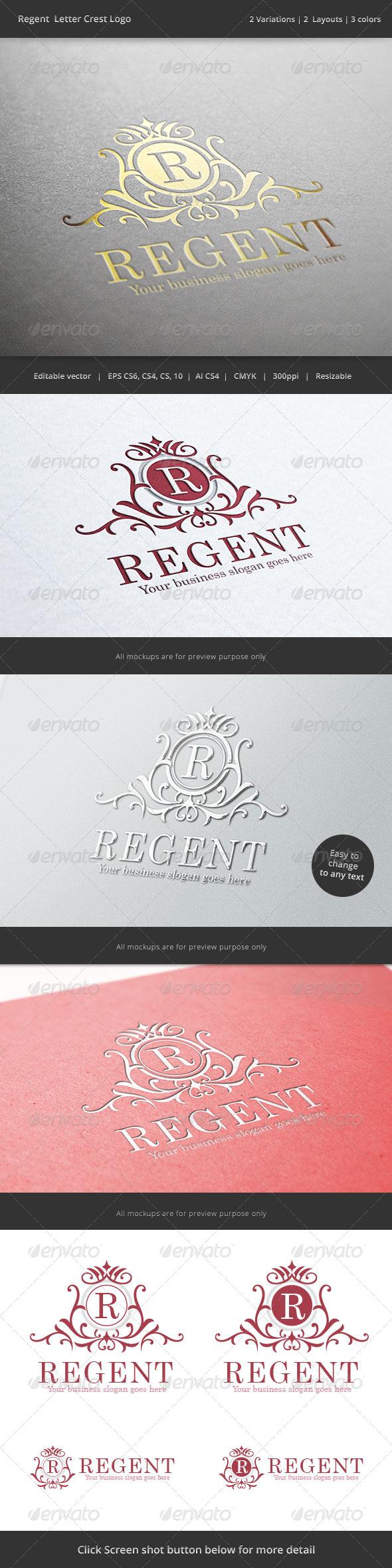 GraphicRiver Regent Letter Crest Logo 6944699