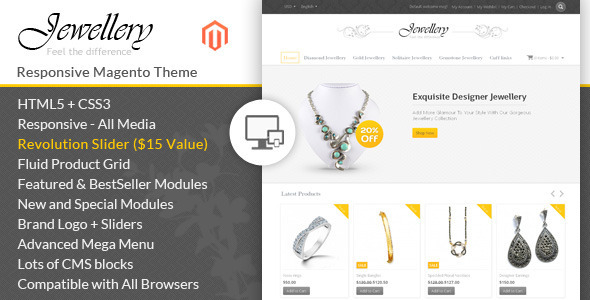 ThemeForest Jewellery Magento Responsive Template 6944707