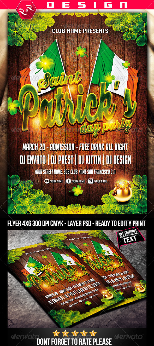 St Patricks Party Flyer Template - Holidays Events