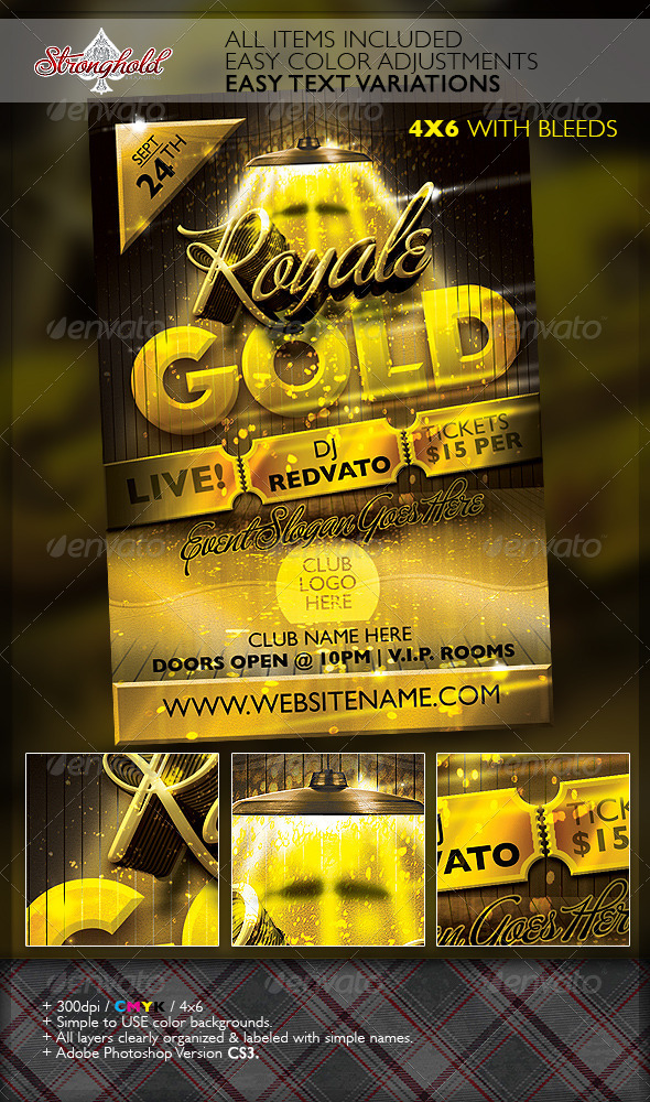 GraphicRiver Royale Gold Ticket Party Flyer Template 6945068