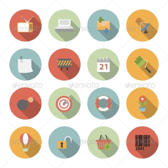 GraphicRiver Universal Vector Flat Icons 6945424