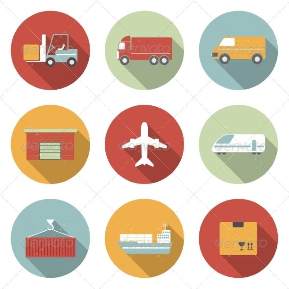 GraphicRiver Transportation Flat Icons 6945436