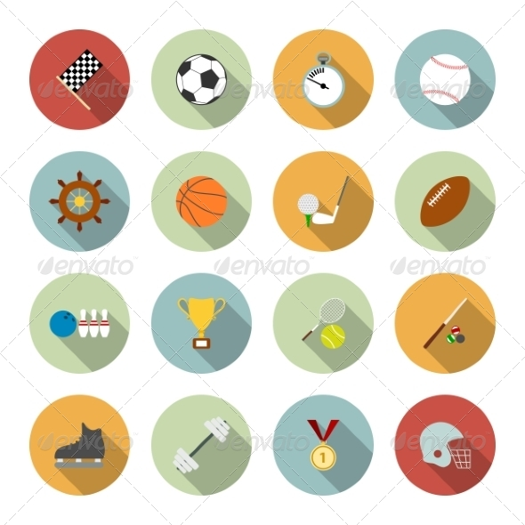 GraphicRiver Sports Flat Icons 6945606