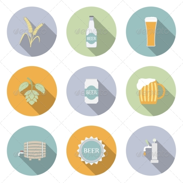 GraphicRiver Beer Vector Flat Icons 6945639