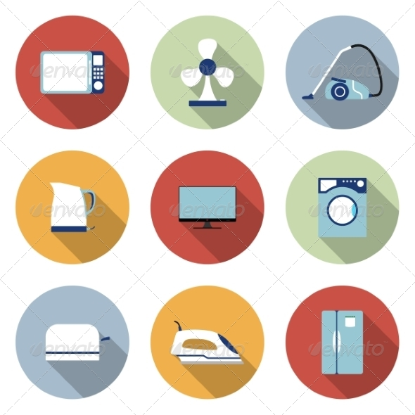 GraphicRiver Household Flat Icons 6945670