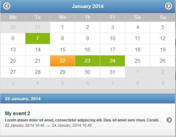 Event Calendar Jquery : Jquery mobile event calendar by ubient codecanyon