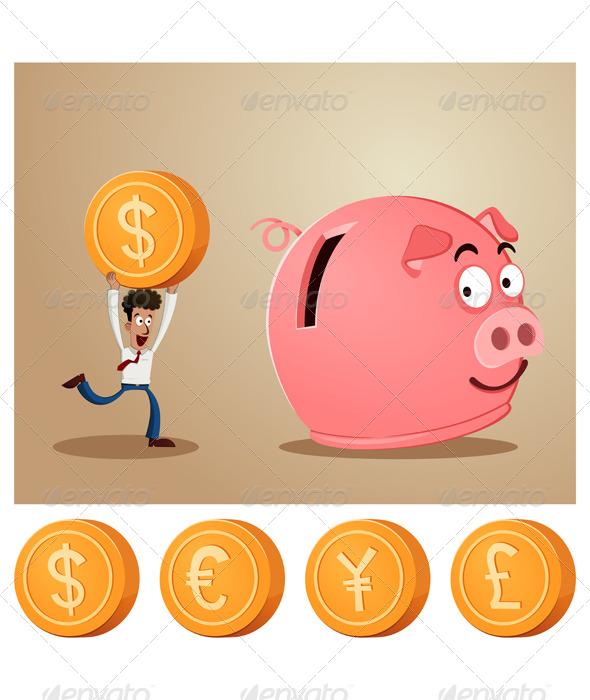 GraphicRiver Saving Money Into Piggybank 6945993