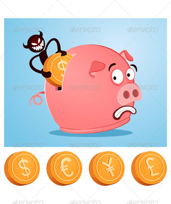 GraphicRiver Stealing Money From Piggybank 6946047