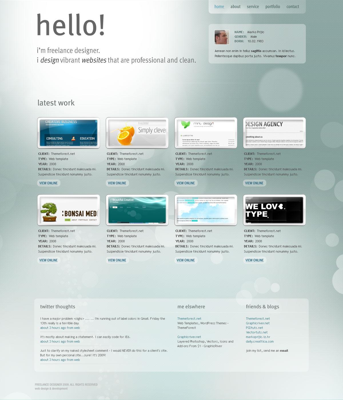 Freelance Designer - Personal Portfolio Template