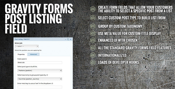 CodeCanyon Gravity Forms Post Listing Field 6898310