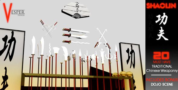 3DOcean Shaolin Kung-fu Weapons 6946928