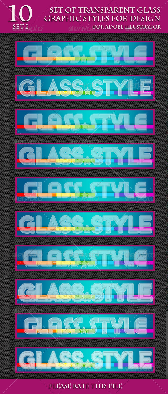 GraphicRiver Set of Transparent Glass Styles for Design part 2 6948007