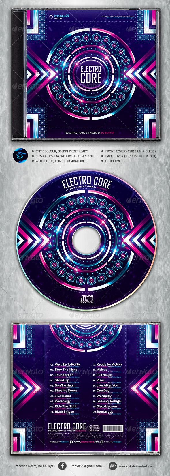 GraphicRiver Electro Core CD Album Artwork 6949363