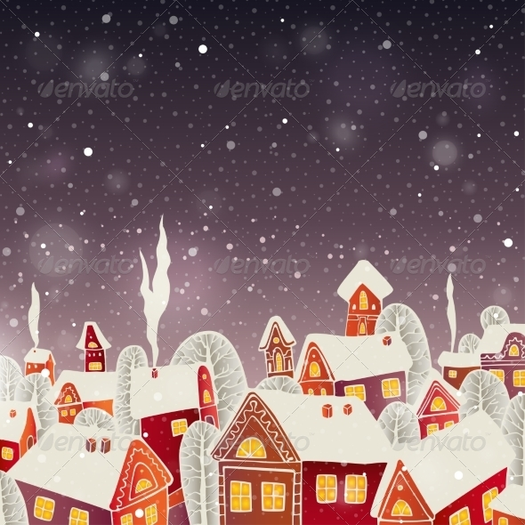 GraphicRiver Christmas Background with Houses 6949419