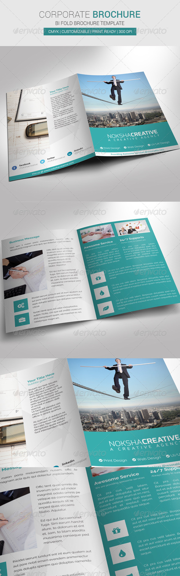 Corporate bi fold brochure graphicriver for Bi fold brochure template illustrator