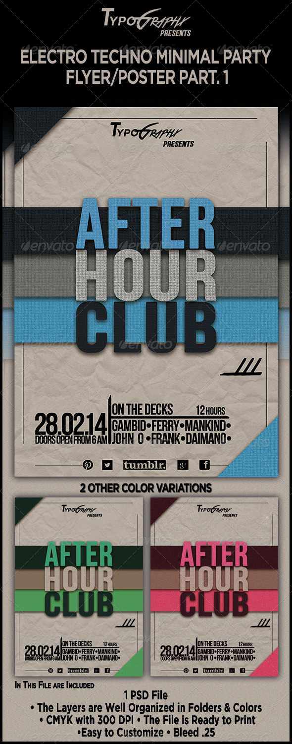 GraphicRiver Electro Minimal Techno Partys Flyer Poster Part 1 6943361