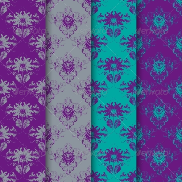 Set of Seamless Damask Ornaments