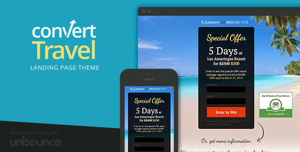 ThemeForest Convert-Travel Unbounce Landing Page 6940384