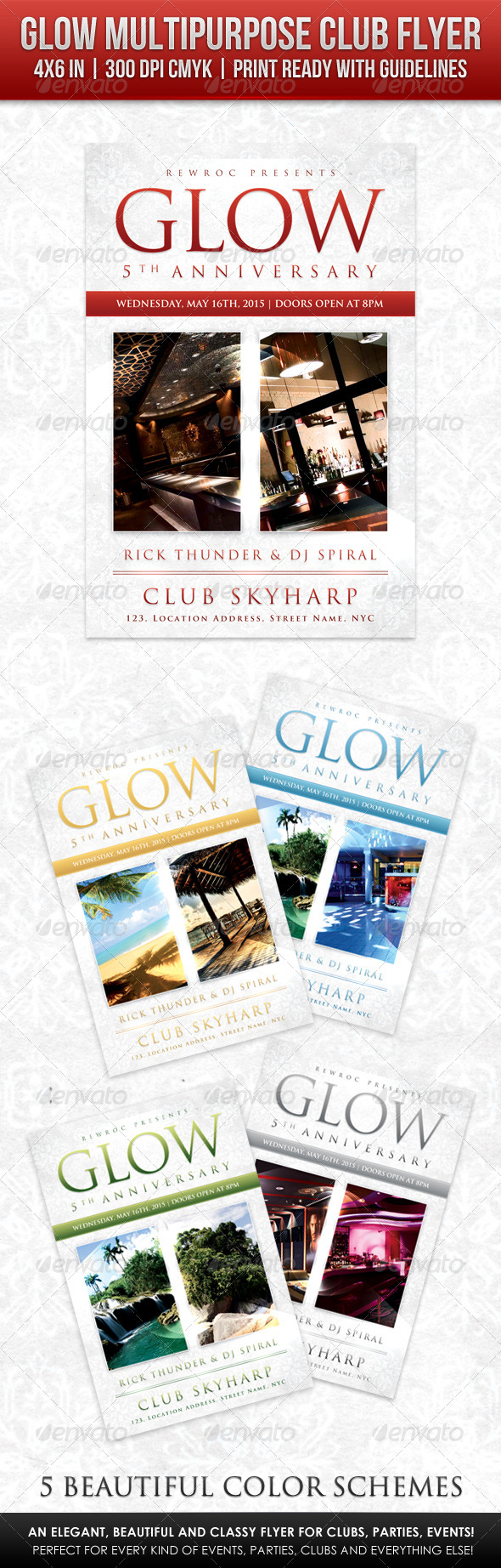 GraphicRiver Glow Multipurpose Club Flyer 6949762