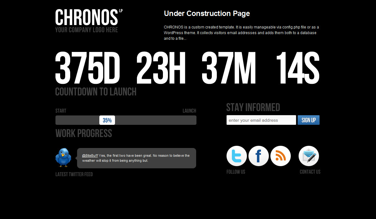Chronos Under Construction Template + WP Theme - Black version.
