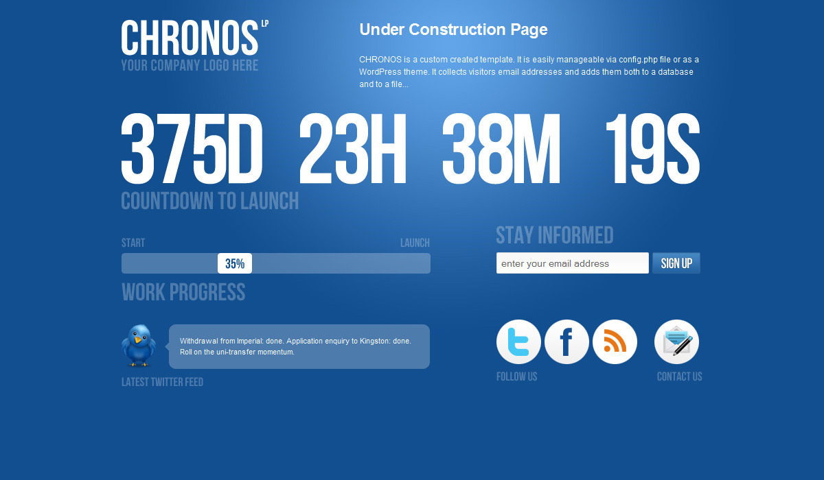 Chronos Under Construction Template + WP Theme - This is the default colour scheme.