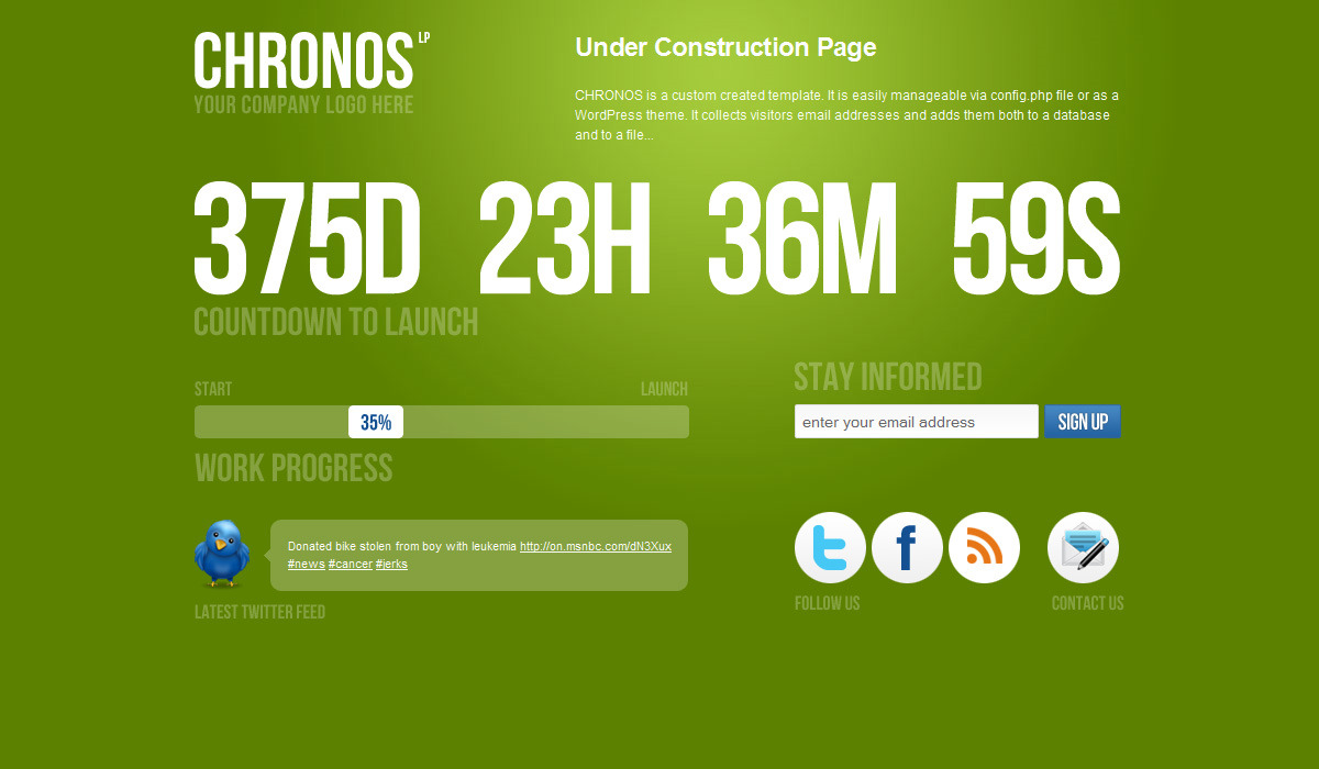 Chronos Under Construction Template + WP Theme - Green version.