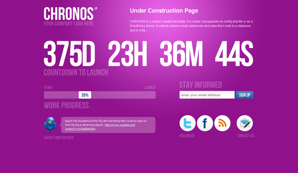 Chronos Under Construction Template + WP Theme - Pink version.