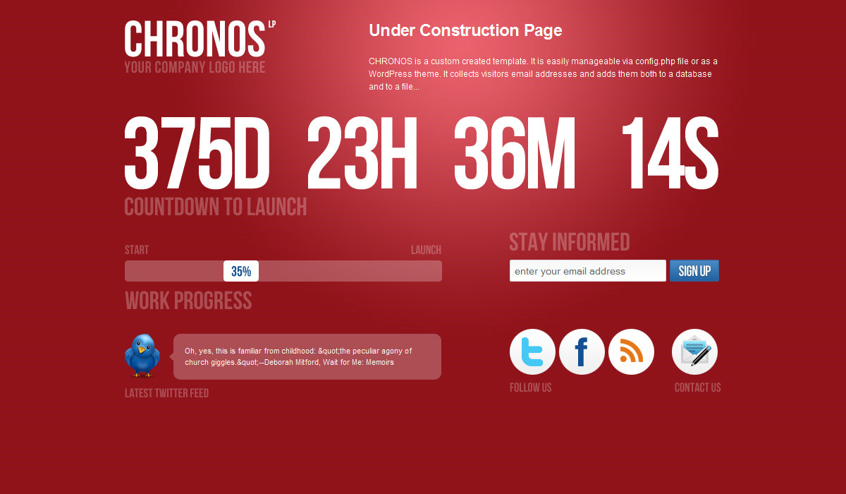 Chronos Under Construction Template + WP Theme - Red version.
