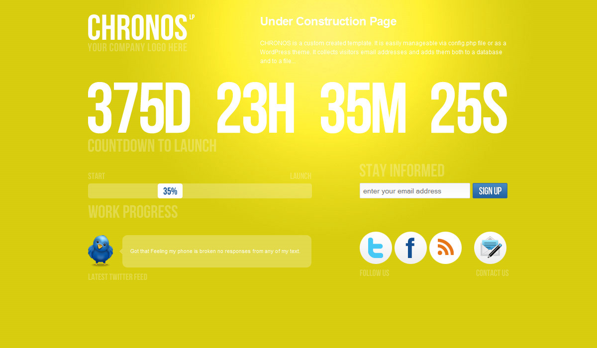 Chronos Under Construction Template + WP Theme - Yellow version.