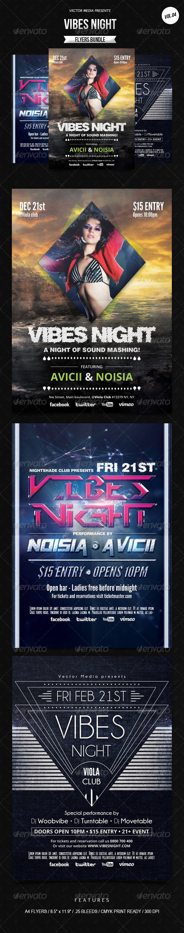 GraphicRiver Vibes Night Flyers Bundle [Vol.4] 6949874