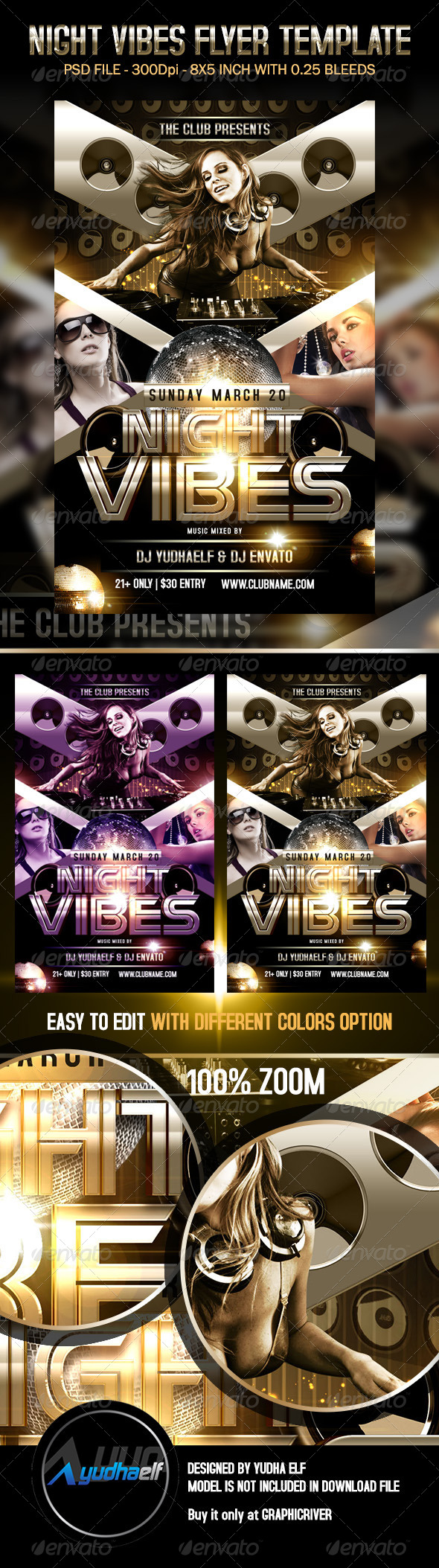 GraphicRiver Night Vibes Flyer Template 6949909