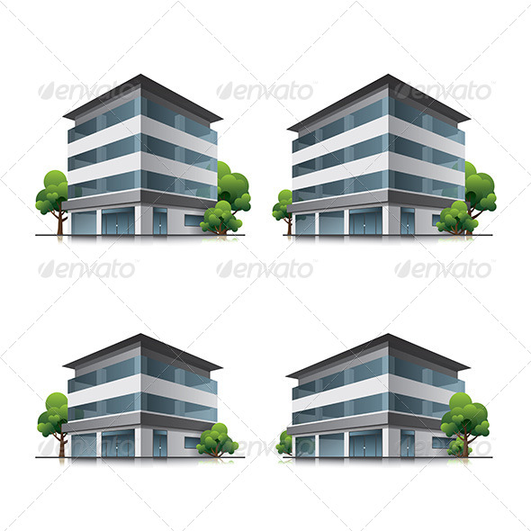 GraphicRiver Hotel or Office Buildings with Trees 6950518
