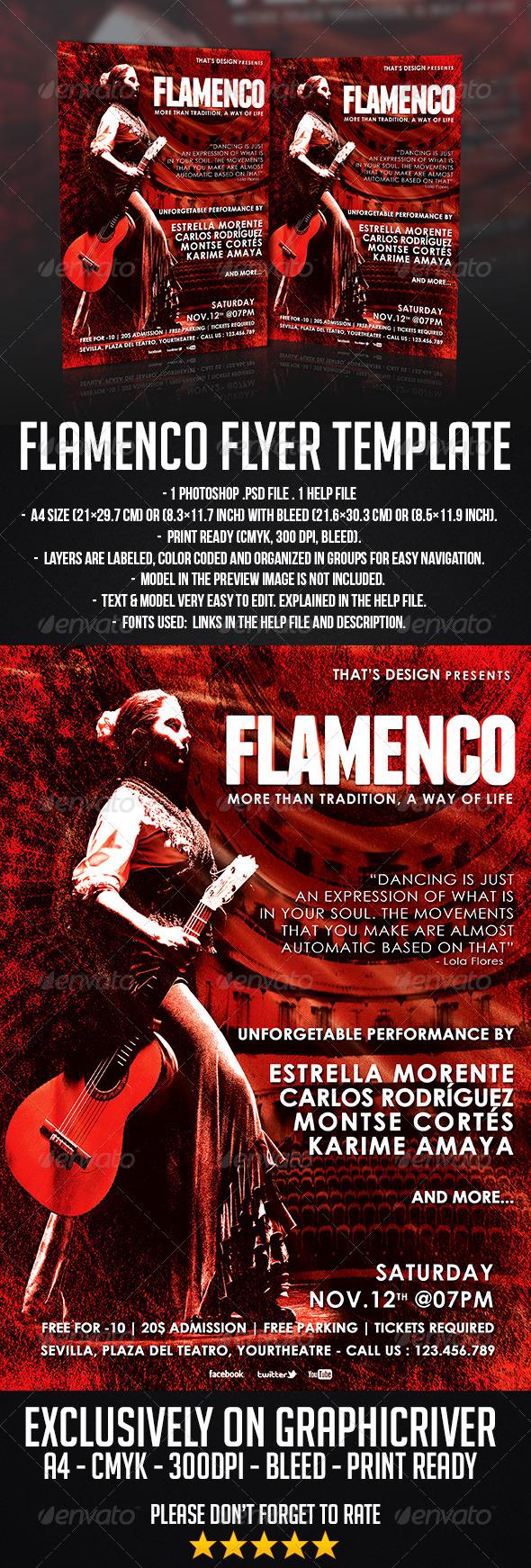 GraphicRiver Flamenco Flyer Template 6951357